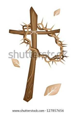 An Illustration Brown Colors of A Crown of Thorns Hanging on A Wooden Cross, Symbolizing Resurrection of Jesus - stock vector