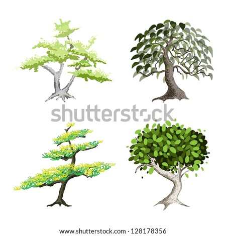 An Illustration Collection of Landscaping Tree Symbols or Isometric Trees and Plants, Variety of Plants, Evergreens and Trees for Garden Decoration - stock vector