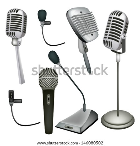 An Illustration Collection Various Kind of Microphone in Modern and Retro Style  - stock vector
