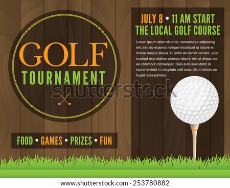 An illustration for a golf tournament. Vector EPS 10. EPS file is layered for separation of text from design elements. Text has been converted to outlines in EPS. - stock vector