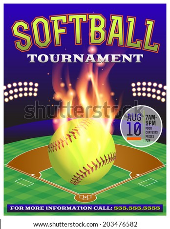 An illustration for a softball tournament. Vector EPS 10 contains transparencies and gradient mesh.  - stock vector