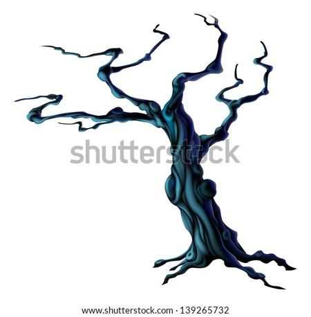 An illustration of a bare spooky scary Halloween tree  - stock vector