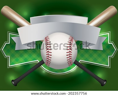 An illustration of a baseball and bat emblem and banner. Room for copy. Vector EPS file contains transparencies. - stock vector