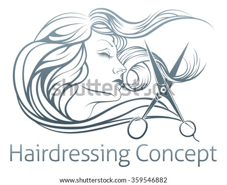 An illustration of a beautiful woman having her hair cut by hairdresser scissors.  - stock vector