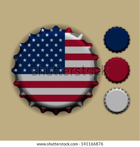 An illustration of a bottle cap with a country sign United States of America - stock vector