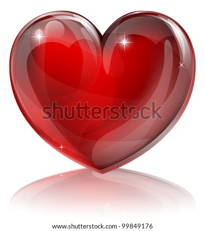 An illustration of a bright shiny red heart shaped symbol - stock vector
