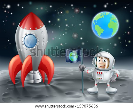 An illustration of a cartoon astronaut and vintage space rocket on the moon with the planet earth in the distance - stock vector