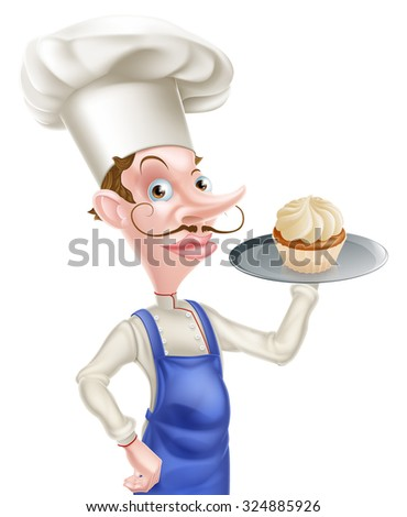 An illustration of a cartoon chef or baker holding a tray with a cupcake on it - stock vector