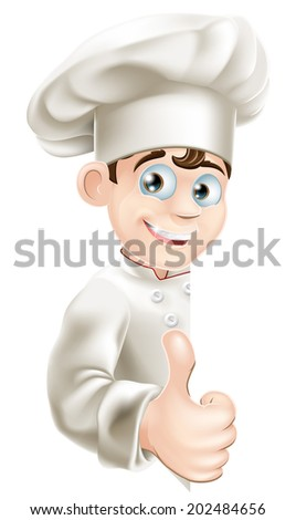 An illustration of a cartoon chef peeping around a sign and giving a thumbs up - stock vector