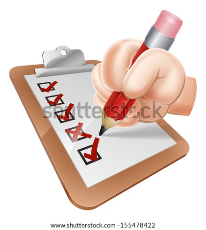 An illustration of a cartoon hand writing on a survey clipboard - stock vector