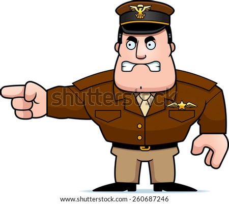 An illustration of a cartoon military captain pointing. - stock vector