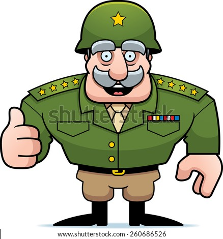 An illustration of a cartoon military general giving a thumbs up sign. - stock vector