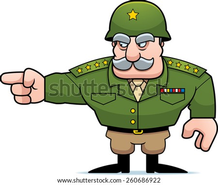 An illustration of a cartoon military general pointing.