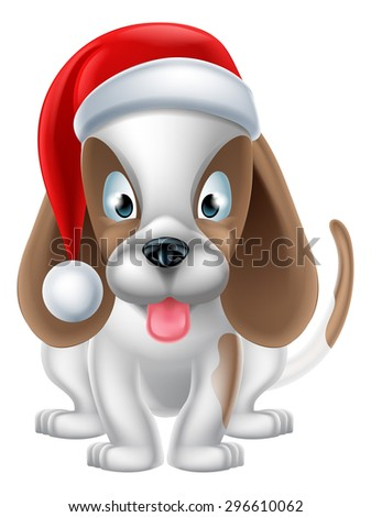 An illustration of a cartoon Puppy Dog wearing a Christmas Santa hat - stock vector