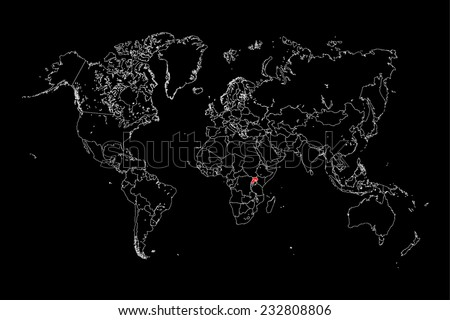An Illustration of a colourfully filled outline of  Uganda - stock vector