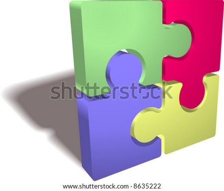 An illustration of a completed jigsaw puzzle icon - stock vector