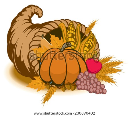An Illustration of a cornucopia for fall - stock vector