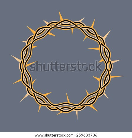 An illustration of a crown of thorns adorned by Jesus Christ at his crucifixion. Vector EPS 10. - stock vector