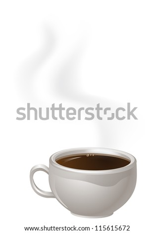 An illustration of a cup of steaming black Coffee - stock vector