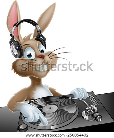 An illustration of a cute cartoon Easter Bunny DJ at the decks with headphones on - stock vector