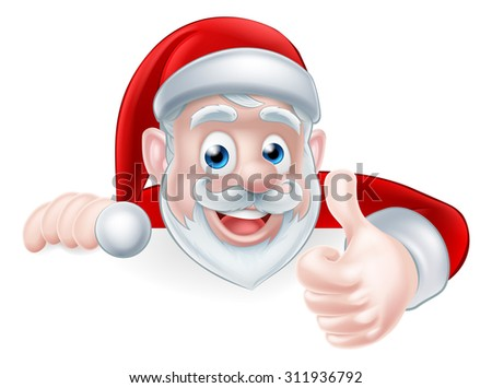 An illustration of a cute Cartoon Santa peeking over a sign giving a thumbs up in approval - stock vector