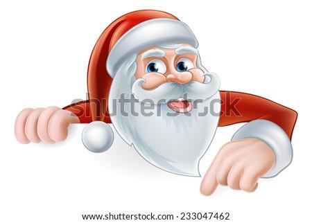 An illustration of a cute Cartoon Santa Pointing at a sign - stock vector
