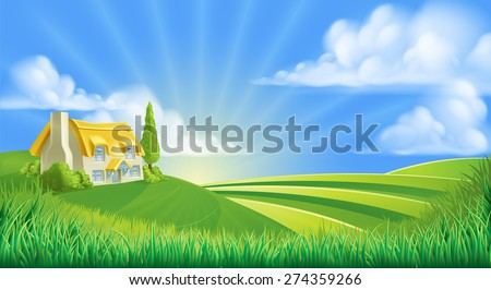 An illustration of a cute thatched farm cottage in a landscape of rolling hills