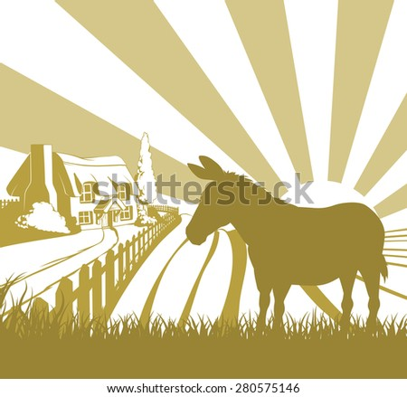 An illustration of a farm house thatched cottage in an idyllic landscape of rolling hills with a donkey in silhouette standing in the foreground - stock vector