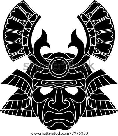 An illustration of a fearsome monochrome samurai mask - stock vector