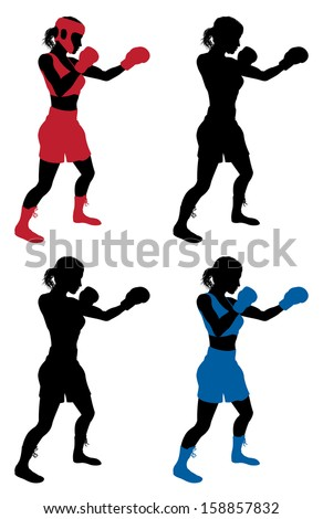 An illustration of a female boxer or boxercise woman boxing or working out. Color and simple silhouette outline versions included, as well as versions with protective headwear and without. - stock vector