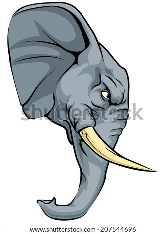 An illustration of a fierce elephant animal character or sports mascot - stock vector