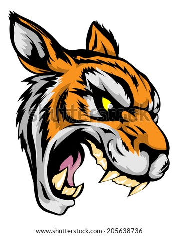 An illustration of a fierce tiger animal character or sports mascot - stock vector