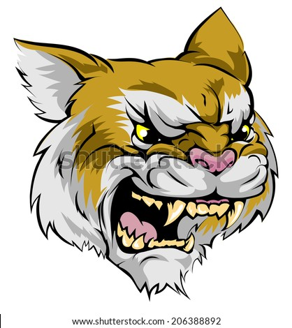 An illustration of a fierce wildcat animal character or sports mascot - stock vector