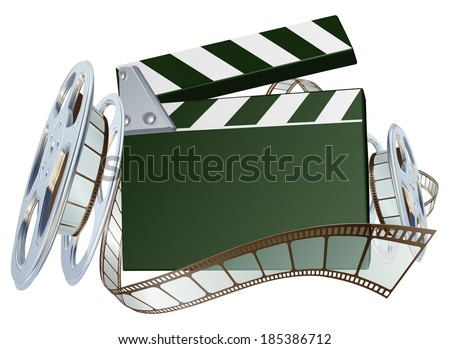 An illustration of a film reel and clapper board with copyspace on the board  - stock vector