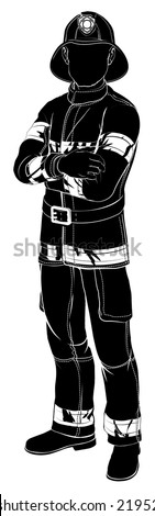 An illustration of a fireman or fire fighter standing with arms folded in silhouette - stock vector