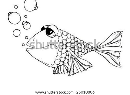 an illustration of a fish drawn by hand - stock vector