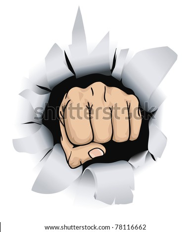 An illustration of a fist breaking through a wall, conceptual piece - stock vector