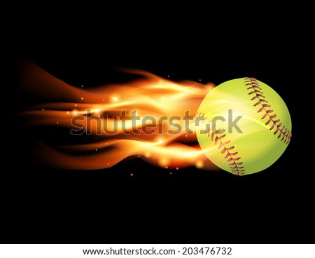 An illustration of a flaming softball. Vector EPS 10 file contains transparencies and gradient mesh. - stock vector
