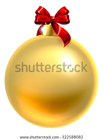 An illustration of a gold Christmas tree bauble decoration ornament with a red ribbon bow - stock vector