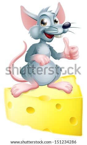 An illustration of a happy cartoon mouse or rat that has got the cheese, giving a thumbs up. - stock vector