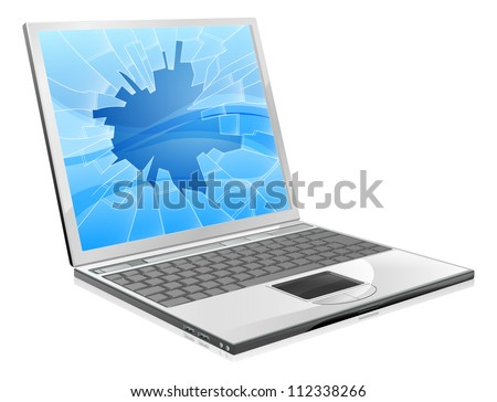 An illustration of a laptop with a smashed or broken screen - stock vector