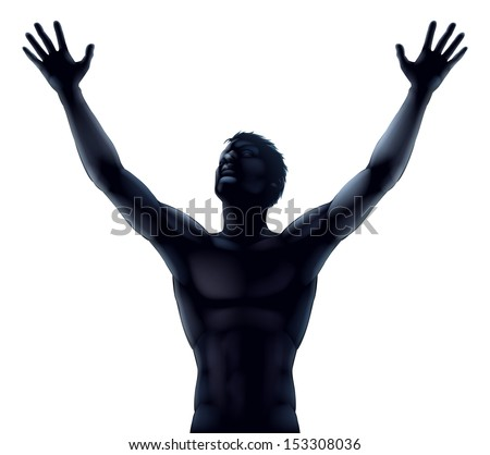 An illustration of a man in silhouette hands and arms raised stretching up to the sky in praise or joy - stock vector
