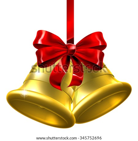An illustration of a pair of gold Christmas bells wiith a red bow and ribbon - stock vector