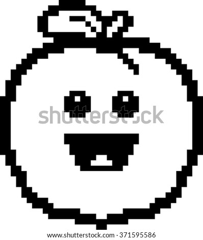 An illustration of a peach smiling in an 8-bit cartoon style.