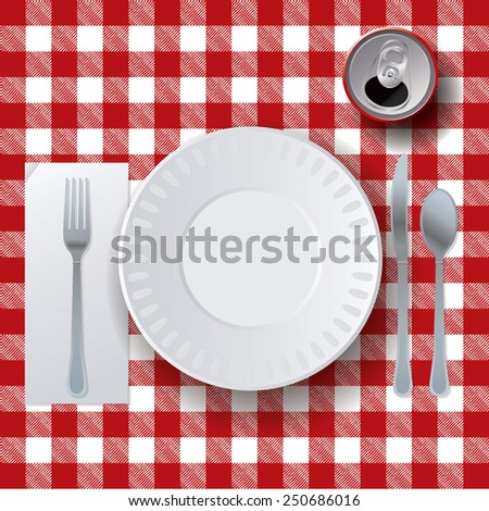An illustration of a picnic tablecloth, placesetting, and soda. Vector EPS 10.