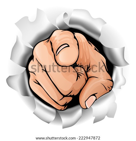 An illustration of a pointing hand breaking through a wall - stock vector
