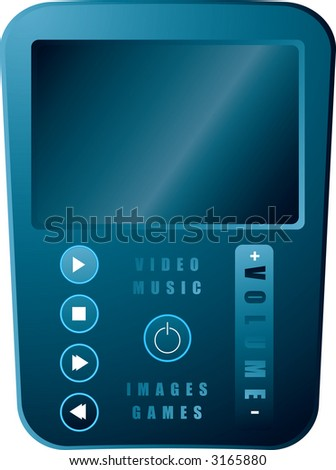 An illustration of a portable media player in silvery blue