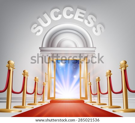 An illustration of a posh looking door with red carpet and Success above it. Concept for door to success - stock vector