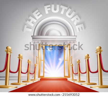 An illustration of a posh looking door with red carpet and The Future above it. Concept for positive changes - stock vector