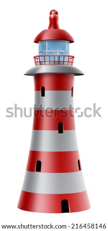 An illustration of a red and white striped lighthouse - stock vector